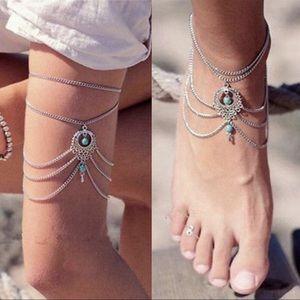 Jewelry - Silvertone turquoise anklet / arm bracelet single)